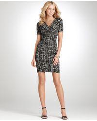 Ann Taylor Petite Textured Print Jersey Dress - Lyst