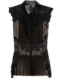 Alberta Ferretti Lace Paneled Silk Chiffon Top - Lyst