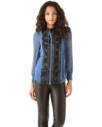 Alice By Temperley - Vanessa Embroidered Silk Chiffon Shirt - Lyst