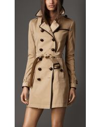 Burberry Midlength Cotton Gabardine Trench Coat - Lyst