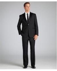 John Varvatos  Wool Satin Detail Two-Button Tuxedo with Flat Front Pants - Lyst