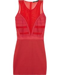 Markus Lupfer Stretch Jersey and Mesh Dress - Lyst
