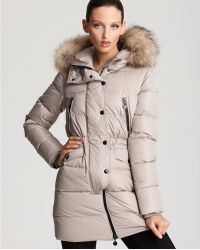 Moncler Fragon Cinched Down Coat with Fur - Lyst