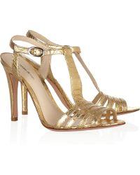 Alexandre Birman Metallic Python Tbar Sandals - Lyst