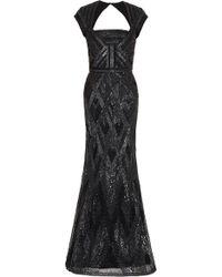 Elie Saab Cap Sleeve Beaded Gown black - Lyst