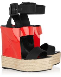 Pierre Hardy Canvas and Patentleather Espadrille Wedge Sandals red - Lyst