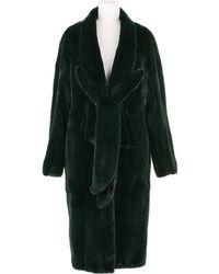 Revillon Maxi Coat in Deep Green Dyed Mink Fur - Lyst