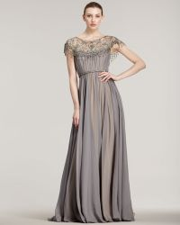 Marchesa Couture Illusion Neck Full Skirt Gown - Lyst
