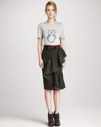 Burberry Prorsum - Draped Tweed Skirt - Lyst