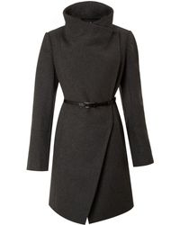 Kenneth Cole Twill Belted Wool Coat - Lyst