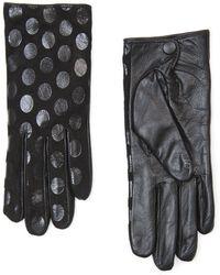 Mango Polkadot Leather Gloves - Lyst