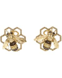 Delfina Delettrez To Bee Or Not To Bee Clip Earrings in 9k and 18k Yellow Gold and 9k Yellow Gold Bees with Grey - Lyst
