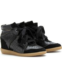 Isabel Marant Betty Suede Trimmed Leather Wedge Sneakers - Lyst