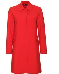 Jil Sander Navy Slightly Flared Coat - Lyst