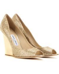 Jimmy Choo Bello Glitter Wedges - Lyst