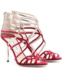 Jimmy Choo Mantra Velvet and Leather Strappy Sandals red - Lyst