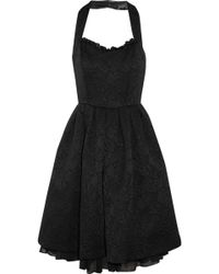 Project D - Lily Black Halter Neck Jacquard Dress - Lyst