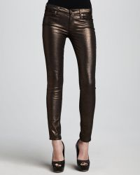 7 For All Mankind The Skinny Copper Liquid Metallic Jeans - Lyst