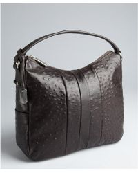 Furla Dark Chocolate Ostrich Embossed Leather Soho Hobo - Lyst