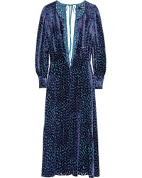 Junya Watanabe Velvet jacquard Dress blue - Lyst