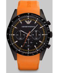 Emporio Armani Sportivo Tachymeter Watch black - Lyst
