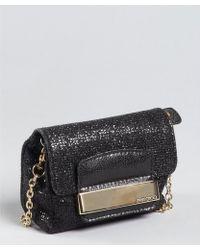 Jimmy Choo - Black Glitter Fabric Caro Convertible Chain Strap Pouch Clutch - Lyst