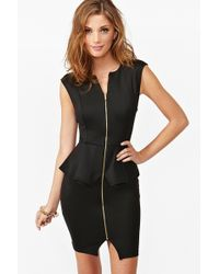 Nasty Gal Zipped Peplum Dress black - Lyst