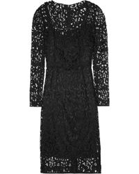 Dolce & Gabbana Wool Blend Lace Dress black - Lyst