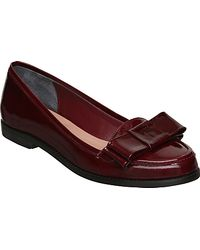Dune Dune Landimore Patent Leather Double Bow Loafers Oxblood - Lyst