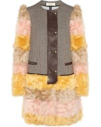 Marni Striped Shearling and Houndstooth Tweed Coat yellow - Lyst