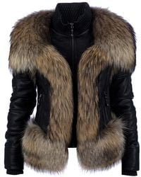 Philipp Plein Lamb Leather Fur Jacket - Lyst