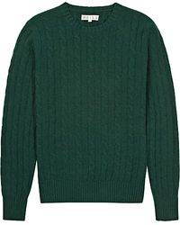 Reiss Buffalo Cable Crew Neck Jumper Dark Green - Lyst