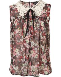 Topshop Pansy Print Crochet Collar Top floral - Lyst
