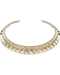 Valentino Golden Brass Metal Choker with Stud Embellishment - Lyst