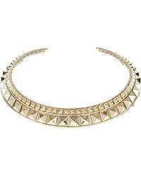 Valentino Golden Brass Metal Choker with Stud Embellishment gold - Lyst