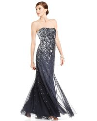 Adrianna Papell Strapless Sequin Evening Gown - Lyst