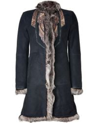 Etro Dark Chocolate Patchwork Detailed Lambskin Coat - Lyst