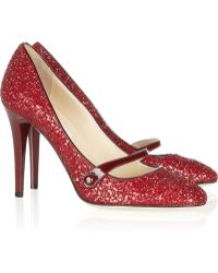 Jimmy Choo Trust Glitterfinished Leather Pumps - Lyst