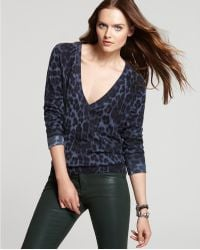 Juicy Couture Youthquake Leopard Print V Neck Sweater - Lyst