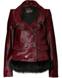 Roberto Cavalli Dark Ruby Fur Trimmed Haircalf Jacket - Lyst