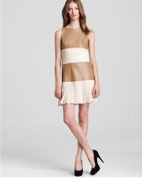 Sachin & Babi Leather Panel Dress Olivia with Pleats - Lyst