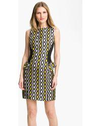 Milly Viola Geo Print Peplum Dress - Lyst