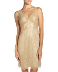 BCBGMAXAZRIA Lynette V-neck Lace Dress gold - Lyst
