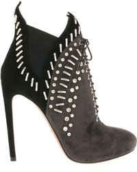 Alaïa Twotone Low Laceup Boots in Suede with Elastic Sides and Decorative Stufs - Lyst