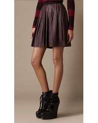 Burberry Brit - Pleated Leather Skirt - Lyst