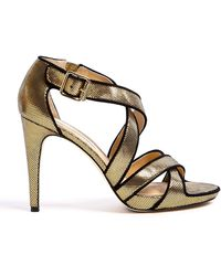 Diane Von Furstenberg Jodi Metallic Printed Leather High Sandals - Lyst