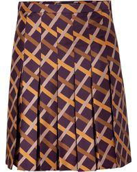 Ferragamo Purple-Multi Pleated Silk Skirt - Lyst