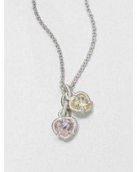 Judith Ripka La Petite Crystal & Sterling Silver Twin Heart Pendant Necklace - Lyst