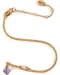 Juicy Couture - Gold Toned Necklace with Lilac Pyramid Stud - Lyst