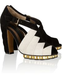 Marni Twotone Suede Sandals - Lyst